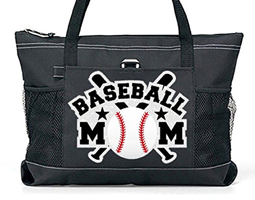''Glitter Bats'' Baseball Mom Tote. Silver glitter Bats with white glitter Baseball on a Large Black Tote by Totesntogs
