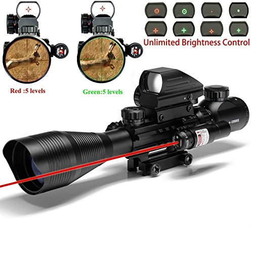 Rifle Scope Combo C4-16x50EG Tactical Dual Illuminated with Red Dot sight and 4 Holographic Reticle Red/Green Dot Sight for 22&11mm Rail Mount
