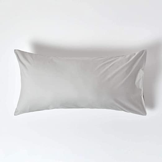 HOMESCAPES Funda de Almohada Lisa Housewife 100% algodón Egipcio 200 Hilos 50 x 90 cm Color Gris: Amazon.es: Hogar