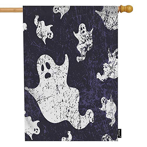 Moslion Ghost House Flag Halloween Scary Skull Ghosts Spirit in Vintage Doodle Paper Garden Flags 28x40 Inch Double-Sided Banner Welcome Yard Flag Home Outdoor Decor. Lawn Villa -