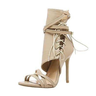 f1fbb439816f Beautyjourney Sandales Ete, Sandales en Cuir Romaine Boucle Sangle  Chaussures Femmes Sandales Sexy Sandales Hauts