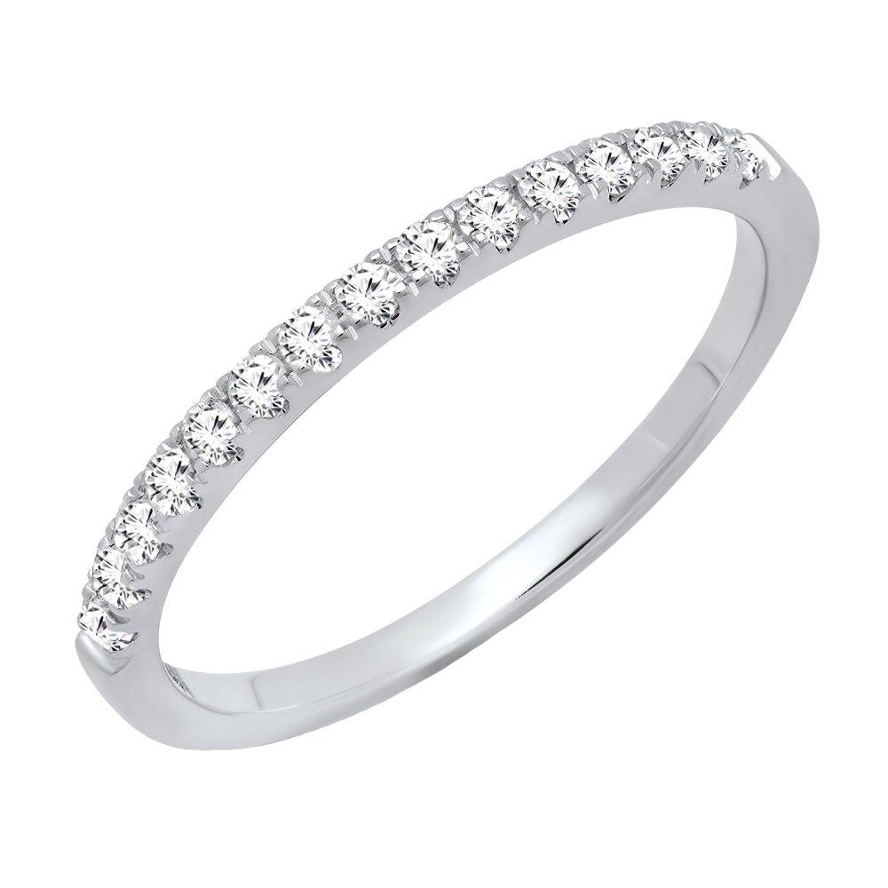 0.25 Carat (ctw) 14K White Gold Round Diamond Ladies Stackable Wedding Band 1/4 CT (Size 5.5)