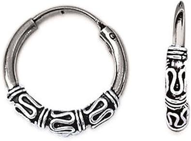 Véritable Argent Sterling 925 Bali Créole Boucle d/'oreille diamètre 13 mm épaisseur 1.5 mm
