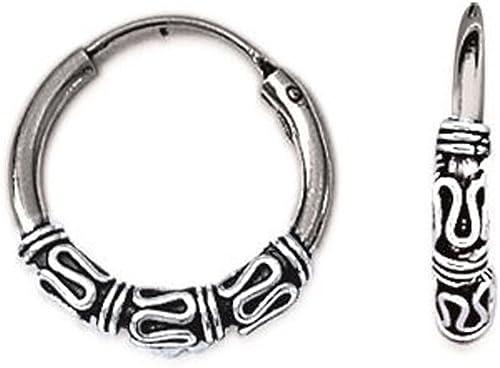 ☆☆Boucles d/'oreilles créoles de Bali en argent 925//000 rhodié 16mm☆☆