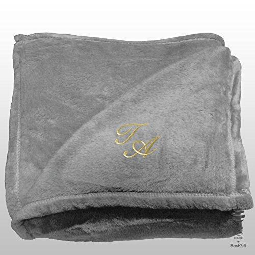BgEurope Personalized Multi-USE Polar Sofa Bed Travel Fleece Blanket with Monogram - REF. DULCELINA - Grey