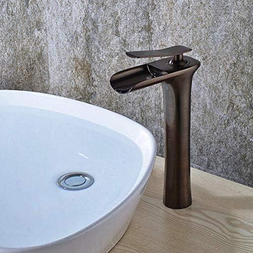 滝は、1つのトイレ継手アンティークコッパーオイルラビングブロンズ仕上げホット&コールド流域ミキサーの真鍮高飛車取付穴蛇口