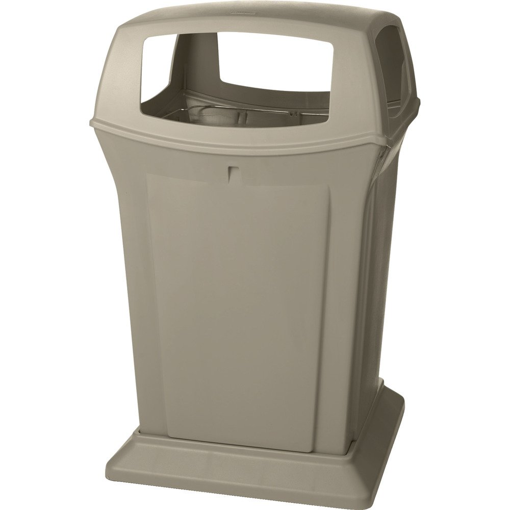 Rubbermaid Commercial Ranger Trash Can, 45 Gallon, Beige, FG917388BEIG