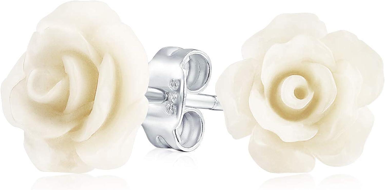 3D Quiso Crema Flor Blanca Pendiente De Boton Para La Mujer, Para La Madre Adolescente Chapados En Plata.