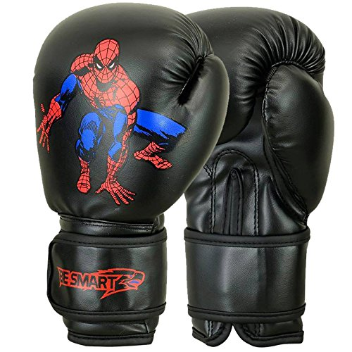 (BeSmart Kids Boxing Gloves Junior Mitts 4oz, 6oz Punch Bag Children MMA Youth P (Spider-man-Black, 6 Oz))