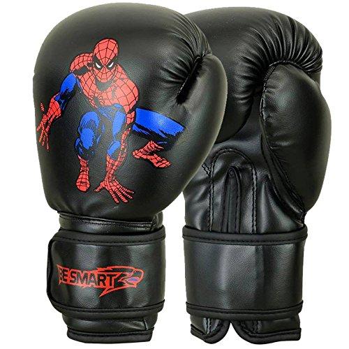 (BeSmart Kids Boxing Gloves Junior Mitts 4oz, 6oz Punch Bag Children MMA Youth P (Spider-Man-Black, 4 Oz))