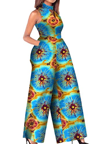 (Abetteric Women African Print Floor-Length One Piece Palazzo Romper 12 L)