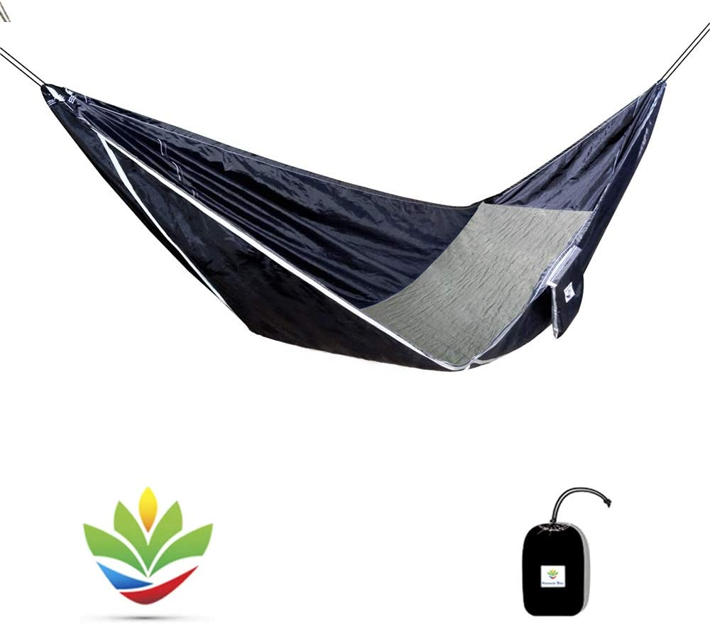 Hammock Bliss Sky Bed – Hangs Like A Hammock, Sleeps Like A Bed – Unique Asymmetrical Design Creates An Amazingly Flat and Insulated Camping Hammock – Integrated Suspension 100 250 cm Rope Per Side