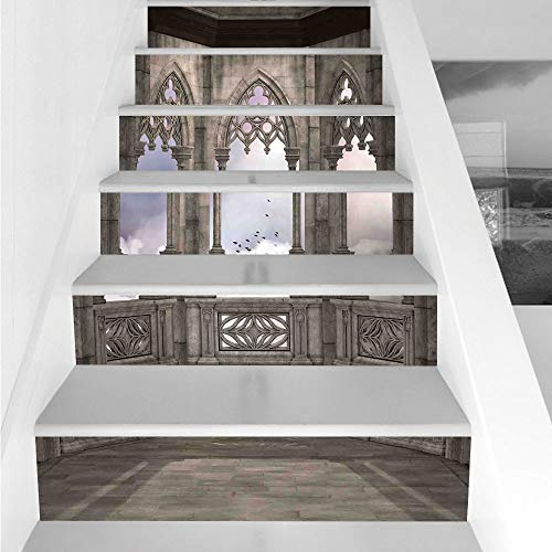 (Stair Stickers Wall Stickers,6 PCS Self-adhesive,Gothic,Medieval Stone Balcony with Curvings Graphic Design Mystic Middle Age Legend Story,Grey Lilac,Stair Riser Decal for Living Room, Hall, Kids)