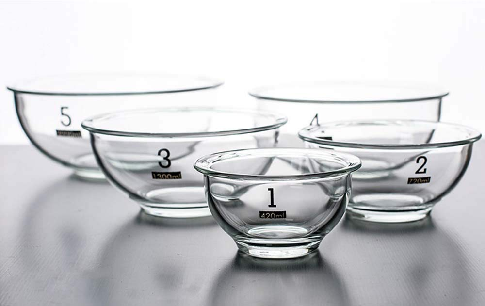 FREELOVE SHISHU Salad Bowl, Clear Glass Capacity Lettering (Set of 5 Packs) by FREELOVE (Image #1)