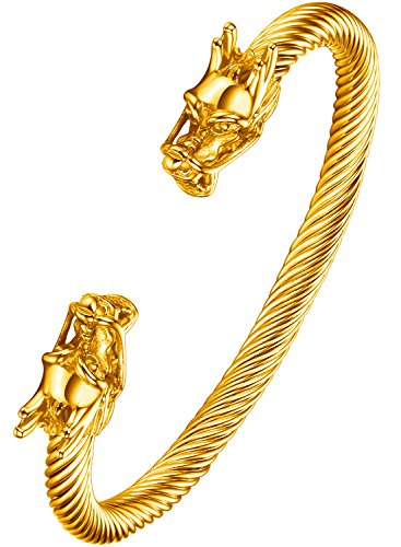 Ostan Men's Double Head Dragon Bracelet Adjustable Stainless Steel Golden Cuff Cool Polished … - Dragon Bracelet Head