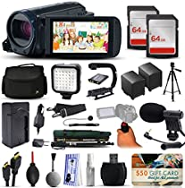 Canon VIXIA HF R62 HFR62 HD Camcorder Video Camera + 128GB Boardcasting Filmmaker's Package with LED Night Light + Tripod + Monopod + Action Stabilizer + Handgrip + Microphone + More