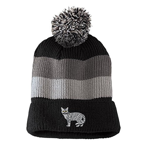 Shorthair Tabby Cat Embroidered Unisex Adult Acrylic Vintage Striped Removable Pom Pom Beanie Winter Hat - Black/Grey Stripes, One Size