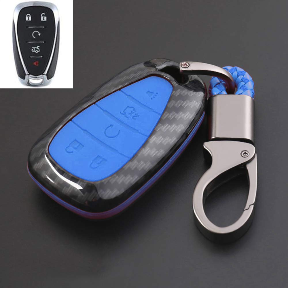 ontto Carbon Fiber Texture Key Fob Cover Case Key Shell Key Chain Key Ring Remote Key Protective Case ABS and Silicone Case Fit for Chevrolet Equinox Malibu Black