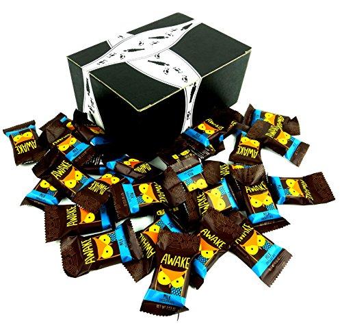 AWAKE Caffeinated Milk Chocolate, 0.53 oz Bites in a BlackTie Box (Pack of 30)
