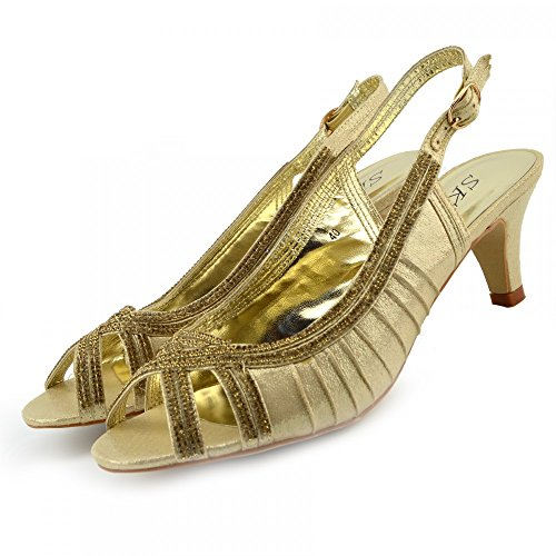 Kick Footwear Ladies Heels Classic Party Looks Wedding Shoes GOLD-MZC012 j5fJIK8