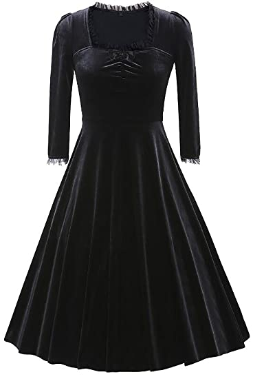 bfdf3ddca Oberora-Women Vintage Slim 3/4 Sleeve Bow Tie 1950s Velvet Pleated Swing  Dress