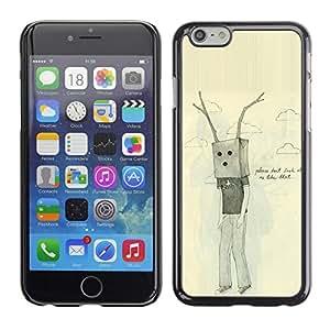 Bolsa Antlers triste Dibujo Emo Ugly- Metal de aluminio y de pl¨¢stico duro Caja del tel¨¦fono - Negro - iPhone 6