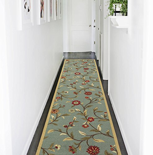 "Ottomanson Ottohome Collection Floral Garden Design Non-Skid (Non-Slip) Rubber Backing Modern Area Rug Hallway Runner, 2'7"" X 9'10"", Seafoam/Garden blue from Ottomanson"