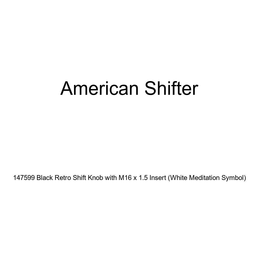 White Meditation Symbol American Shifter 147599 Black Retro Shift Knob with M16 x 1.5 Insert