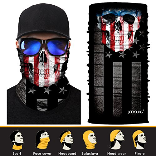 JOEYOUNG 3D Face Sun Mask, Neck Gaiter, Headwear, Magic Scarf, Balaclava, Bandana, Headband for Fishing, Hunting, Yard work, Running, Mortorcycling UV Protection, Great for Men & (Crazy Bandanas)
