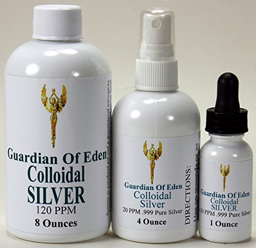 Dropper Silver Top (GOE 8 Fl Oz 120ppm Colloidal Silver & 4 Fl Oz 20ppm Colloidal Silver Spray Bottle + FREE 1 Oz 120ppm Colloidal Silver FILLED dropper bottle! Lab Tested.)