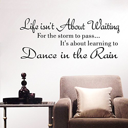 Auwer Wall Sticker Life Isnt About Waiting for The Storm to Pass Its Learning to Dance in The Rain Vinyl Wall Decal Inspirational Quotes (Black) -
