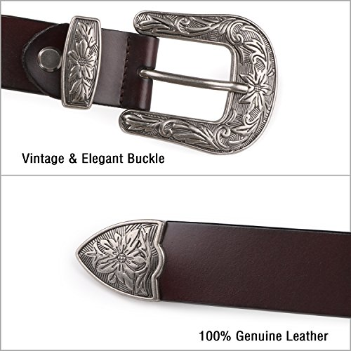 "Women Belts for Jeans, SUOSDEY Brown Leather Belts for Women with Vintage Buckle, 35""- 39"""