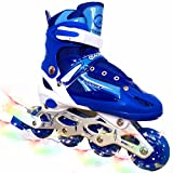 you-beat-you-land Children Adjustable Inline Skates Kids Rollerblades For Boys And Girls With Light Up Wheel-Blue M