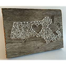 Massachusetts love reclaimed wooden string art sign - A unique Mother's Day, Wedding, Anniversary, Birthday, Valentine's Day, Christmas and house warming gift