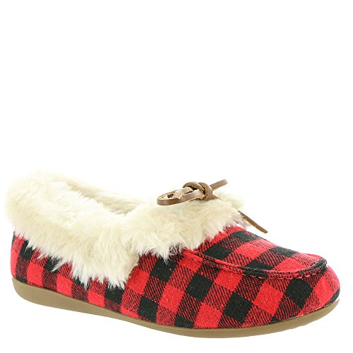 Vionic New Womens Cozy Juniper Slipper Black/Red 7.5