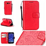Galaxy Core Prime SM-G360 Case with Free Screen Protector,Funyye Leather Wallet Strap Cover with Card Slots Embossed Design Full Protection Stand Case Cover for Galaxy Core Prime SM-G360 - Red