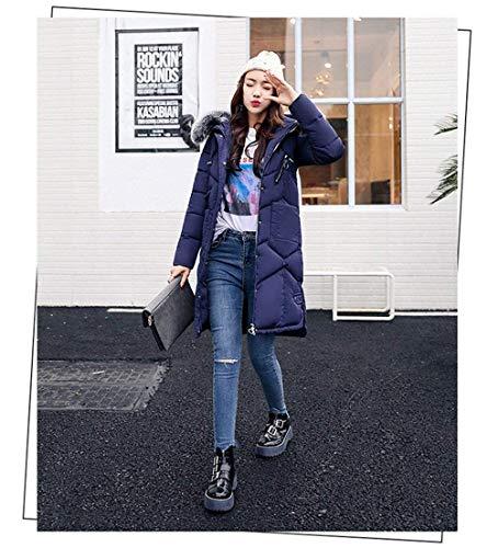 Cappuccio Manica Cappotti Invernali Monocromo Caldo Collo Cerniera Con Giacca Giovane Donna Trench Qualità Alta Tasche Lunga Alto Yasminey Blau Piumino Anteriori Di xqzI4wqZ