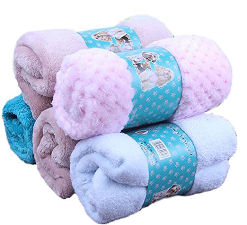 OUUD Soft Fleece Winter Warm Pet Bed Blankets Bath Towel for Dog Puppy Cat (Random Colour,1PC ) (L)