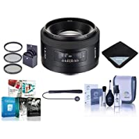 Sony 50mm f/1.4 a (alpha) Mount Digital SLR Standard Lens Kit, with Tiffen 55mm UV Filter, Lens Cap Leash, Professional Lens Cleaning Kit