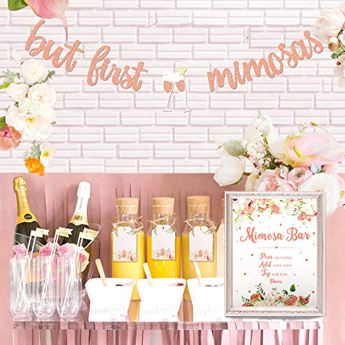 Mimosa Bar Sign But First Mimosas Banner Boho Floral Bridal Shower Decorations Rose Gold Baby Shower Graduation Decor Summer Brunch Bubbly Bar Themed Wedding Engagement Birthday Party Mimosa Bar - Products Carafe
