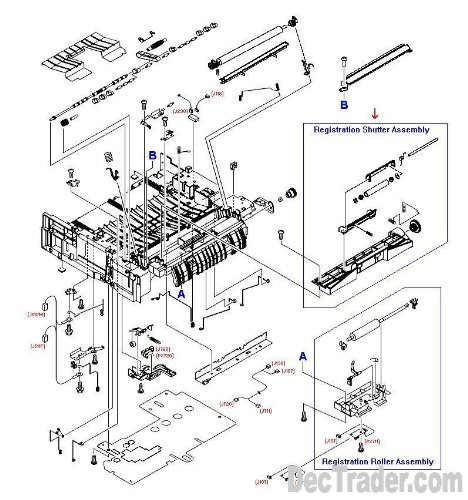 Hewlett Packard Frame - HP RG5-6940-050CN Registration shutter assembly - Includes the metal roller, mounting frame, grounding springs, and the dual coupling gear