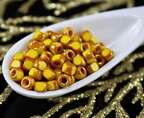 (NEW SHAPE 10g Lemon Yellow Brown Luster 3 Cut Matubo 6/0 Czech Glass Large Hole Seed Beads Spacer 4mm)