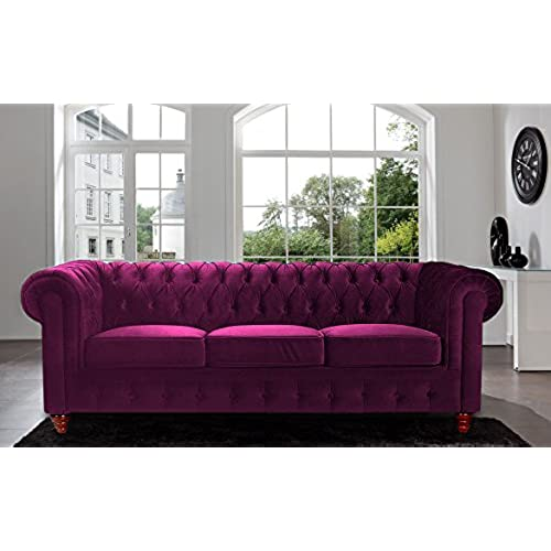 Merveilleux Divano Roma Furniture Velvet Scroll Arm Tufted Button Chesterfield Style  Sofa, Purple