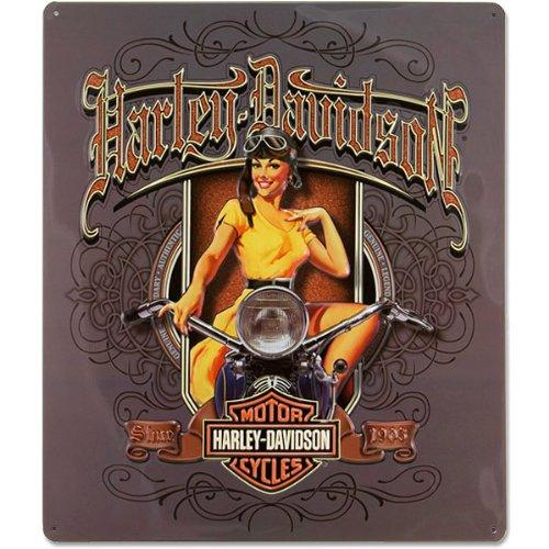 Harley-Davidson® Old Scroll Babe Tin Sign