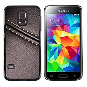 LASTONE PHONE CASE / Carcasa Funda Prima Delgada SLIM Casa Carcasa Funda Case Bandera Cover Armor Shell para Samsung Galaxy S5 Mini, SM-G800, NOT S5 REGULAR! / Cool Stitch Leather Brown Texture