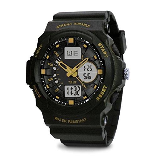 TOPCABIN Chronograph-50m Waterproof Digital-analog Children Sport Watch with Alarm Stopwatch Light Gold