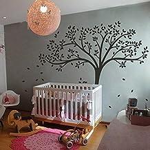 Wall Decal Decor Monochromatic Tree Decal Homr Tree Wall Sticker Baby Nursery Wall Decor 78H X 87W (Black tree)