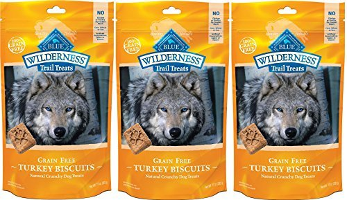 - BLUE BUFFALO WILDERNESS TRAIL TREATS GRAIN FREE TURKEY BISCUITS DOG TREATS 10 oz bag pack of 3 MADE in USA