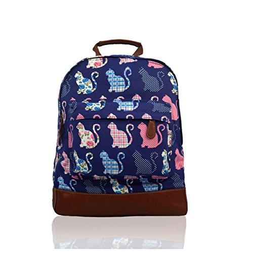 Señoras Niñas Multi gatos lienzo mochila mochila escolar bolsa Colegio Bolsa de hombro para mujer azul oscuro