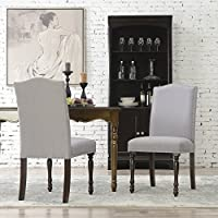 BELLEZE | Upholstered Accent Dining Chair | Classic Parsons | Linen Fabric | Nail head | Reeded Wood Legs Style | Set of 2 | Grey